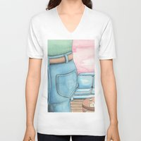 sofa V-neck T-shirts featuring Butt and Sofa by David Domike