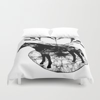 bleach Duvet Covers featuring Black and white horse and the flowers by JBLITTLEMONSTERS