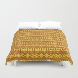 Mudcloth Style 2 in Burnt Orange and Yellow Duvet Cover