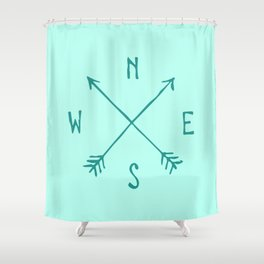 Find My Way \\ Teal Compass Art Shower Curtain