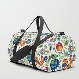 Polish Folk Roosters White Duffle Bag