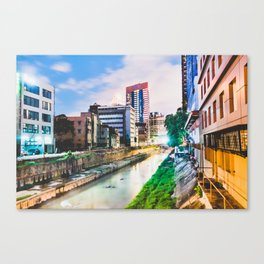 On going rapid urbanization leads to river pollution. Canvas Print