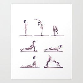 Yoga Ladies (sun salutation) Art Print