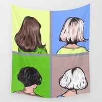 hair Wall Tapestries featuring Hair by turddemon