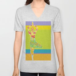 Simple silhouette of woman doing yoga Unisex V-Neck