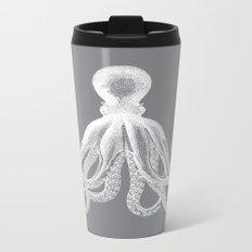 Octopus | Grey and White Metal Travel Mug