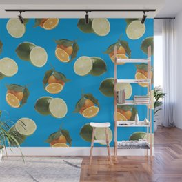 Lime and Clementine Fruits Pattern on Cyan Background Wall Mural