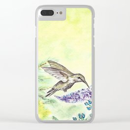 Hummingbird and Salvia Flowers Clear iPhone Case