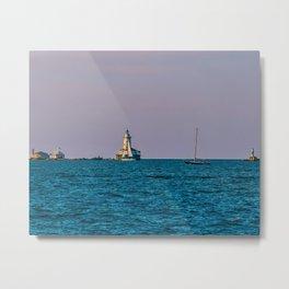 Chicago Harbor Lighthouse Purple Sky Metal Print