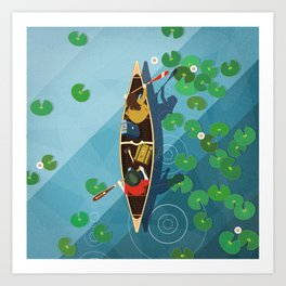 Paddling Through the lily pads Art Print