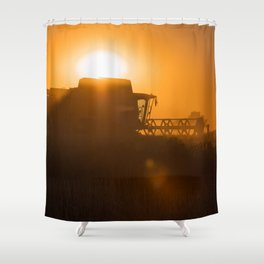 Midsummer time is harvest time of the cereal fields Shower Curtain