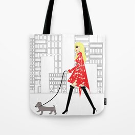 Red Jacket & the City Fashion Illustration Tote Bag