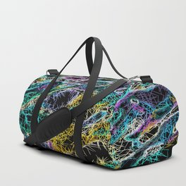 psychedelic rotten sketching texture abstract background in green purple yellow Duffle Bag