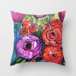 """Full Bloom"" Floral Throw Pillow"