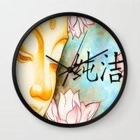 buddah Wall Clocks featuring Buddah (Purity) by JackiesGamingArt