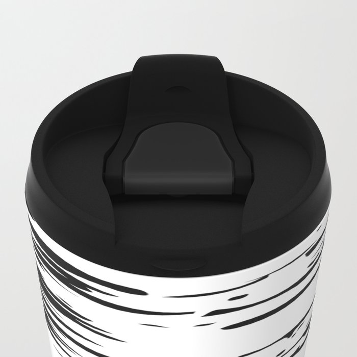 Splash Black and White Metal Travel Mug