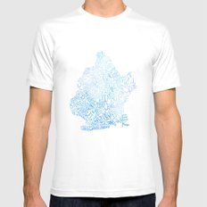 Typographic Brooklyn - Blue Watercolor map art White Mens Fitted Tee MEDIUM
