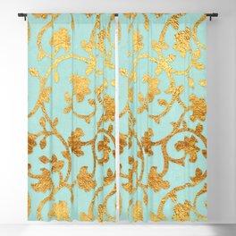 Golden Damask pattern Blackout Curtain