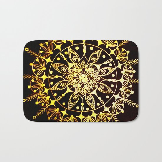 Gold Metallic Mandala on Black Background #2 Bath Mat