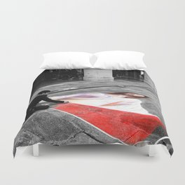 Street Art in Bologna Black and White Photography Color Duvet Cover