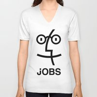 steve jobs V-neck T-shirts featuring JOBS by Mr. Pandastic