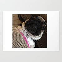 muppet Art Prints featuring Pug Muppet by Red NCK Debutante