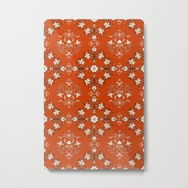 Vintage Floral - Rust Orange Metal Print