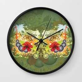 Golden disco ball and red hibiscus Wall Clock