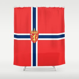 Flag of Norway Scandinavian Cross and Coat of Arms Shower Curtain