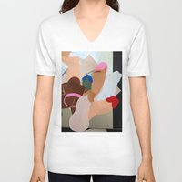 penis V-neck T-shirts featuring Penis Collage by vooduude
