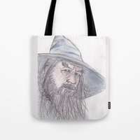 gandalf Tote Bags featuring Gandalf by jamestomgray