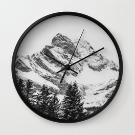 black and white like forest and snow Wall Clock
