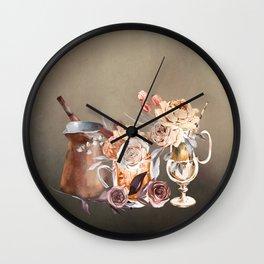 Coffee and Flowers Wall Clock