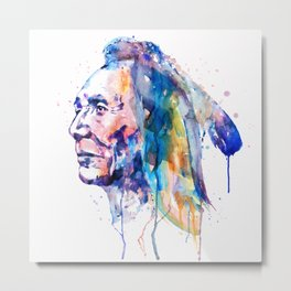 Sioux Warrior Watercolor Metal Print