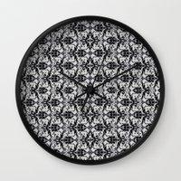 damask Wall Clocks featuring Black Damask  by Elena Indolfi