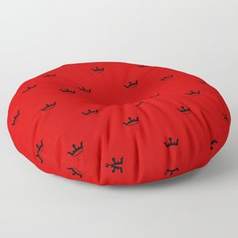 Black Crown pattern on Red background Floor Pillow