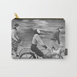 Women Riding Bicycles black and white photography / black and white photographs Carry-All Pouch