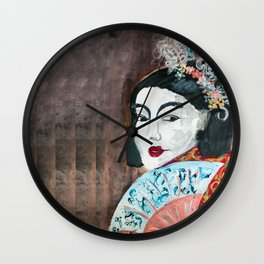 The Girl with the Blue fan Wall Clock