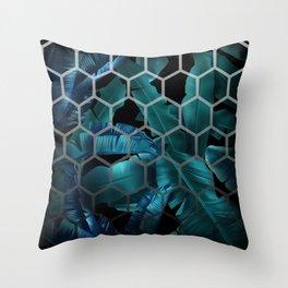 tropical banana leaves geometry 2 Throw Pillow