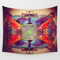 mandala Wall Tapestries featuring Mandala by Aaron Carberry