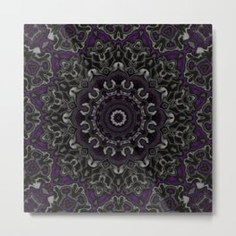 Purple, Gray, and Black Kaleidoscope 3 Metal Print