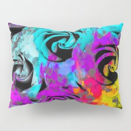 closeup rose texture pattern abstract background in blue purple pink yellow Pillow Sham