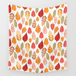 Painted Autumn Leaves Pattern Wall Tapestry