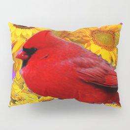RED CARDINAL & YELLOW SUNFLOWERS PANTENE PURPLE Pillow Sham