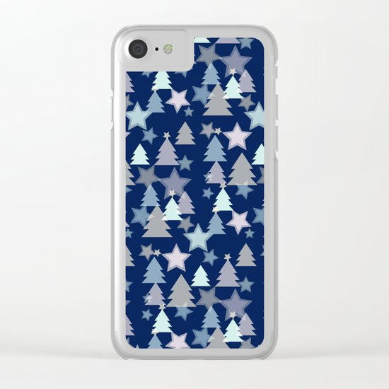 Christmas Landscape blue Clear iPhone Case