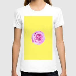 pink rose with yellow background T-shirt