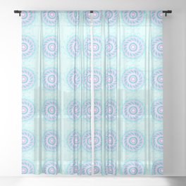 Peppermint Wheel Candy Spins Pattern Spirograph Sheer Curtain