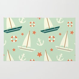 cute colorful sailboat pattern with anchor and lifebuoy Rug