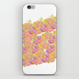 Pink coral yellow watercolor hand painted floral iPhone Skin