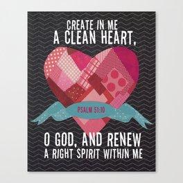 Psalm 51 Canvas Print